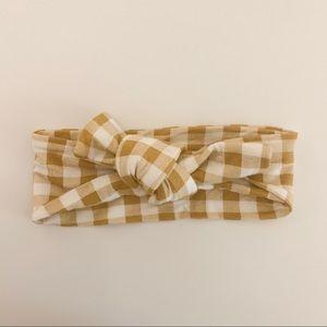 Ochre gingham SpearmintLOVE knot bow